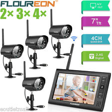 "7"" LCD Monitor Recorder Outdoor Wireless CCTV DVR Video Camera Security System"