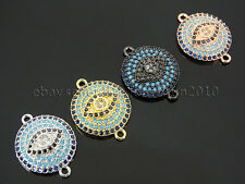 Zircon Gemstones Pave Turquoise Disk Lucky Eye Bracelet Connector Charm Beads
