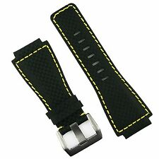 B & R Bands Carbon Fiber Yellow Stitch Bell & Ross BR01 BR03 Watch Band Strap