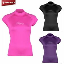 Women Lycra Rash Guard Surf Swimsuit Shirt Short Sleeves Swimwear Sunscreen