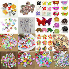 50X CUTE ASSORTED ANIMAL 2 HOLES WOOD BUTTONS SEWING CRAFT SCRAPBOOKING DIY GLAM