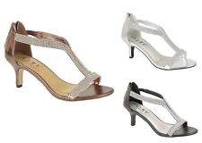 Womens Ladies Wedding Evening Prom Party Shoes High Heel Diamante Sandals