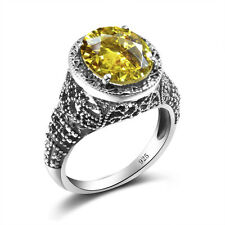 Citrine Yellow Gemstone 925 Sterling Silver Jewelry Ring Size 5 6 7 8 9 10 11