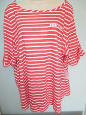 NWT Misses Plus Size 2X Shirt, Top by Croft & Barrow Striped in Orange