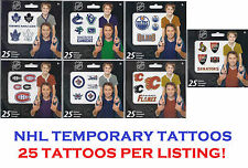25 NHL Temporary Tattoos! NHL Licensed 25 Tattoos Total, All 7 Canadian Teams