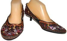 Rebels Shoes Womens Size 8 1/2M Sequine Flowers Pumps Shoes Kitten Heels