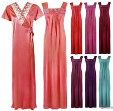 WOMENS LONG SATIN CHEMISE NIGHTIE NIGHTDRESS LADIES DRESSING GOWN 2PC SET 8-16