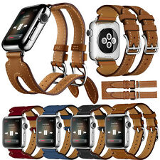Leather Double Buckle Cuff Wrist Watch Band Strap For Apple Watch Series 2 / 1