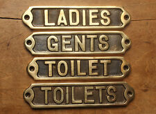 BRASS TOILET DOOR SIGNS - LADIES GENTS TOILET TOILETS WC DISABLED ANTIQUE STYLE