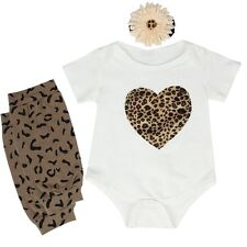 Baby Boys Girls Romper+Leg Warmer+Headband Leopard Bodysuit Outfits & Clothes