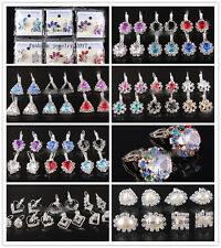 Wholesale 24pairs Women Bling Ball Silver P Stud Earring Cubic Zirconia Crystal
