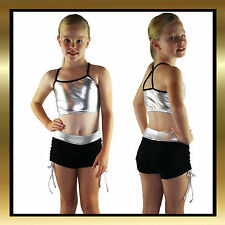 Kids Silver/Black Dance Wear Top and Tie Side Shorts