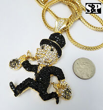"Iced Out Gold Plated MONOPOLY Pendant w/ 4mm 36"" Franco Chain Hip Hop Necklace"