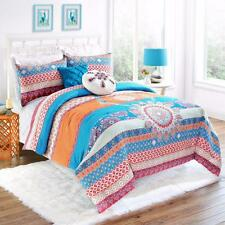 TEEN Trendy Global Bohemian Exotic TEAL ORANGE Cotton Reversible COMFORTER SET