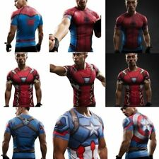 Marvel Captain America Superhero Mens Compression T-Shirt Gym Sport Tops Cycling