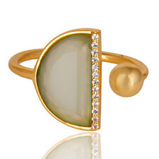 CZ Gemstone 14k Gold Plated Fashion Design Chalcedony Ring Fashion Jewelry
