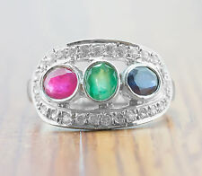 925 Sterling Silver Ring with Blue Sapphire, Emerald & Ruby Gemstones Handmade.