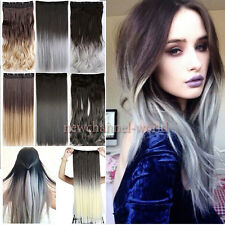 US 100% Real THick Half Full Head 1Piece Long Ombre Wavy Clip in Hair Extensions