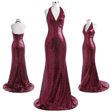 Sequins Halter Long Formal Evening Pageant Wedding Cocktail Party Prom Dresses.
