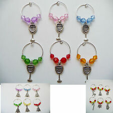 6 x Handmade beaded Wine Glass Charm Christmas Gift Party Favour Novelty Silver