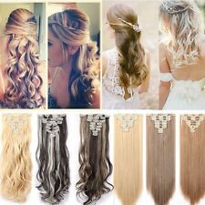 Real Thick Clip in on Hair Extensions 8 Piece 18Clips Full Head 18 Clips On Tape