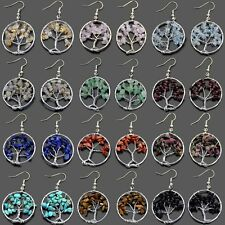 30mm Silver Tree of Life Wire Wrap Crystal Quartz Chip Bead Hook Earrings