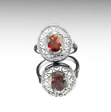 925 Sterling Silver Ring with Natural Red Garnet Gemstone Oval Cut Handmade.