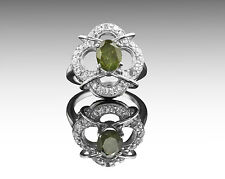 925 Sterling Silver Ring with Oval Green Natural Tourmaline Gemstone Handmade.
