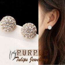 18CT Rose&White Gold Plated Made With Swarovski Crystals Ball Stud Earrings