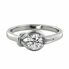 Solitaire Diamond Ring 14K White Gold Certified Promise Band 1.04 CTW Knot G SI1
