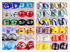 Wholesale Mixed 24pcs Charm Helix Summer Style Gold Dust Murano Glass Rings FREE