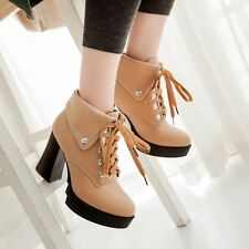 Fashion Punk High Cuban Heel Round Toe Womens Lace Up Platform Ankle Boots Shoes