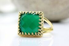 Green Onyx Ring Square 14K Gold Fill Gemstone Vintage Jewelry Bridesmaid Gift