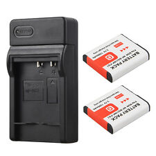 2x Camera Replacement Li-ion Battery + USB Charger For Sony NP-BG1 NP-FG1 DSC-H3