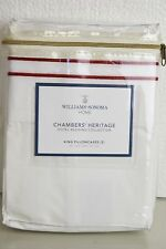 NEW Williams Sonoma Home Chambers Heritage KING Pillowcases Embroidery White RED
