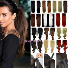 US 100% Real Natural Clip in as Human Hair Extensions Ponytail Clip on Hairpiece