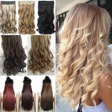 "17-30"" Long One Piece 100% Real Thick Clip In Hair Extension Straight Curly Wavy"