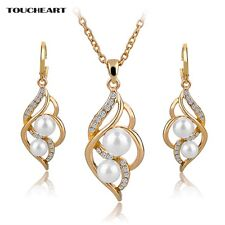 Women Bridal Crystal Jewelry Earings Necklace Statement Set Simulated Pearl Kit