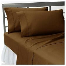 1000TC 100%EGYPTIAN COTTON LUXURY BEDDING ITEMS CHOCOLATE SOLID ALL US SIZES