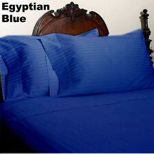 DUVET/FITTED/FLAT/PILLOW 1000 TC EGYPTIAN COTTON ALL SIZE EGYPTIAN BLUE STRIPED