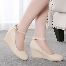 Sweety Womens Round Toe Bowknot Strap Wedge Heel Mary Jane Leisure Shoes Sandals