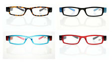 Four Colors Unisex Fashion Reader Reading Glasses With LED Light +1.00 ~ +4.00