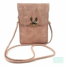 Cell Phone Crossbody Bag Textured Leather Gold-Tone Magnetic Snap Closure Bunny