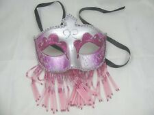 Silver Raspberry Venetian Mardi Gras Mask With/Without Beaded Veil (M26)