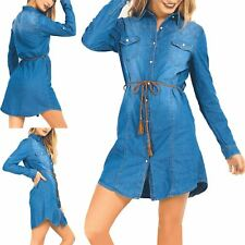 Womens Ladies Button Tunic Pockets Denim Belted Jacket Collared Long Shirt Dress