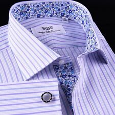 Blue Purple Formal Business Dress Shirt Sexy Thunder Twill Stripe 2x French Cuff