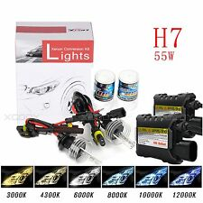 55W HID Xenon Headlight Conversion KIT Bulbs H7 4300K 5000K 6000K 8000K 10000K