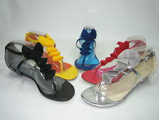 Bamboo strappy sandals thongs ruffle trim 1 inch wedge heels shoes faux leather