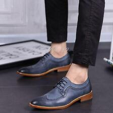 Mens Pieced Block Heels Brogue Oxfords Wing Tip Dress Casual Pointed Toe Shoes