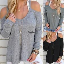 New Women Casual Off Shoulder Loose Spaghetti Strap Long Sleeve Top HYFG